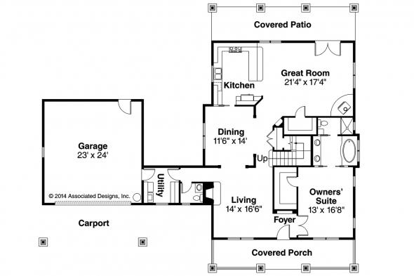 Bungalow House Plan - Wisteria 30-655 - 1st Floor Plan