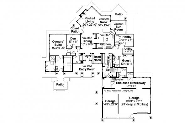 Chalet House Plan - Missoula 30-595 - 1st Floor Plan
