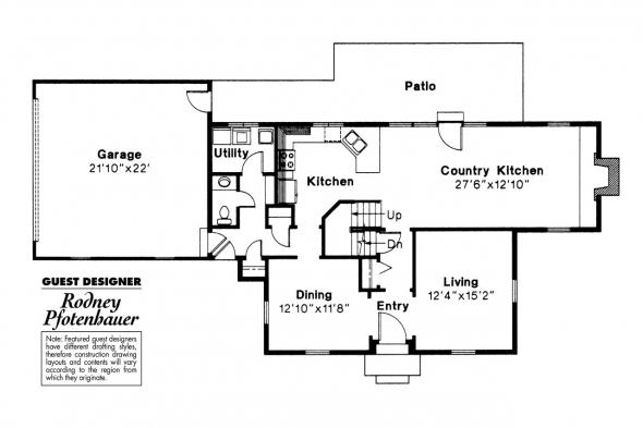 Colonial House Plan - Maumee 42-007 - 1st Floor Plan