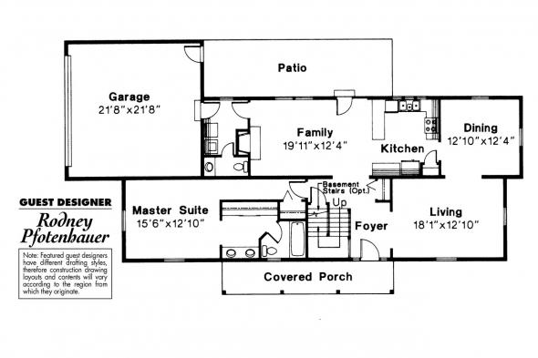 Colonial House Plan - Namskaket 42-002 - 1st Floor Plan