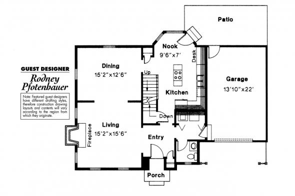 Colonial House Plan - Perrysburg 42-001 - 1st Floor Plan