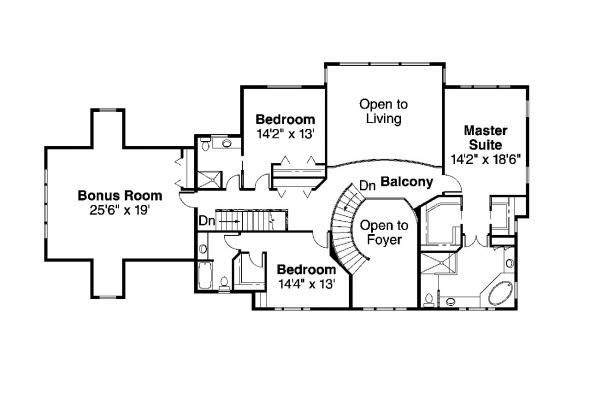 Colonial House Plan - Roxbury 30-187 - 2nd Floor Plan