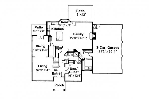 Colonial House Plan - Willmar 30-048 - 1st Floor Plan