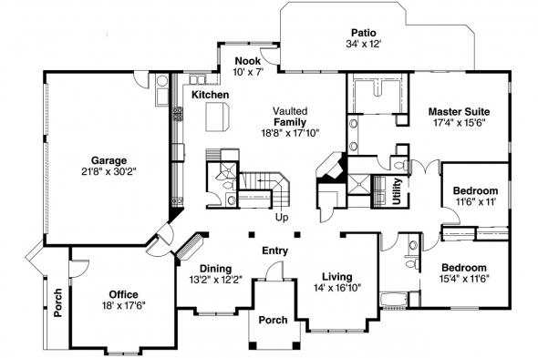 Contemporary House Plan - Ainsley 10-008 - 1st Floor Plan