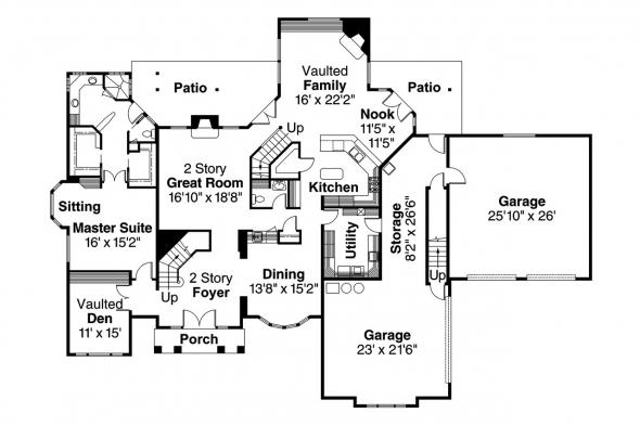 Contemporary House Plan - Aroland 30-121 - 1st Floor Plan