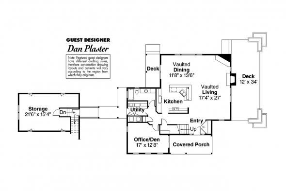 Contemporary House Plan - Fairview 51-008 - 1st Floor Plan