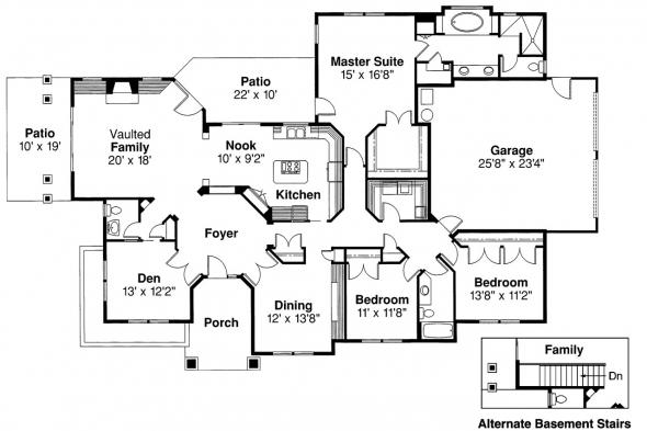 Contemporary House Plan - Rosewood 10-402 - Floor Plan