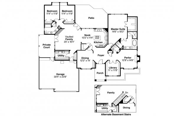 Contemporary House Plan - Westbrook 30-065 - Floor Plan