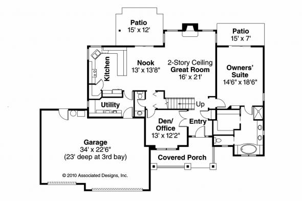 Cottage House Plan - Briarwood 30-690 - 1st Floor Plan