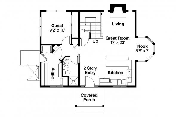 Cottage House Plan - Jersey 30-070 - 1st Floor Plan