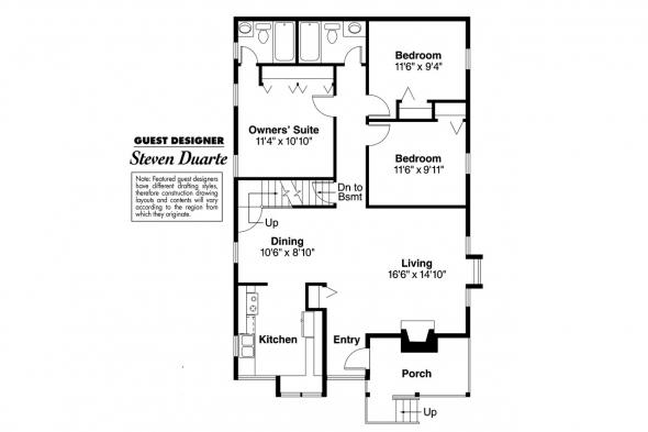 Cottage House Plan - Mazaruni 41-007 - 1st Floor Plan