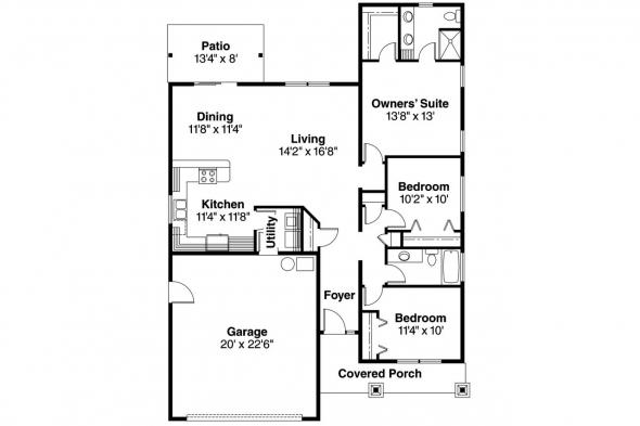 Cottage House Plan - Redrock 30-636 - Floor Plan