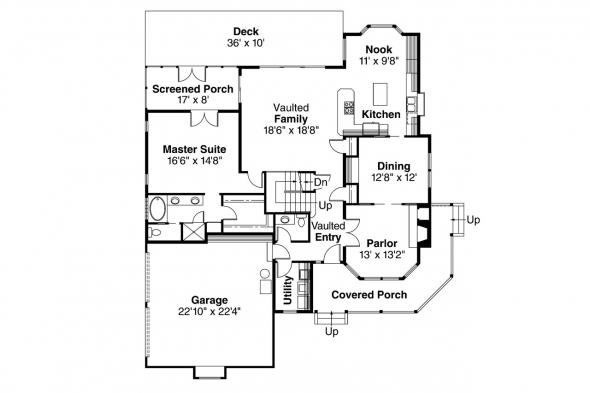 Country House Plan - Allegheny 10-204 - 1st Floor Plan