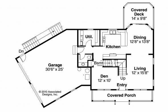 Country House Plan - Alsea 30-756 - 1st Floor Plan