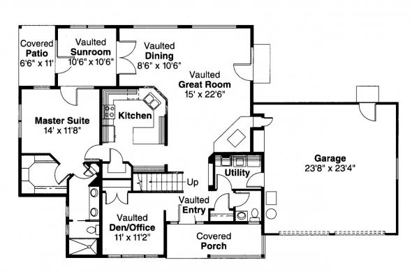 Country House Plan - Amsbury 30-124 - 1st Floor Plan