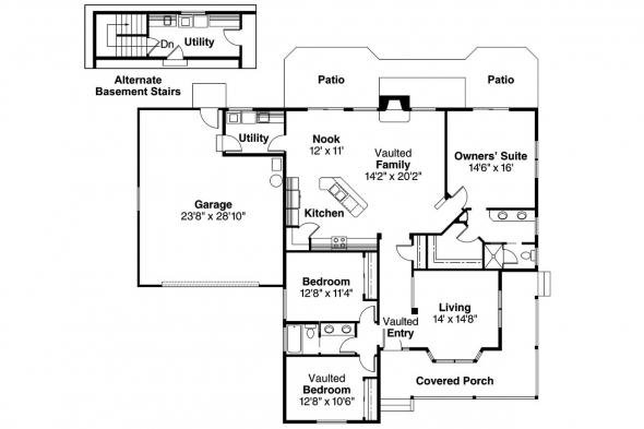 Country House Plan - Ann Arbor 10-146 - 1st Floor Plan