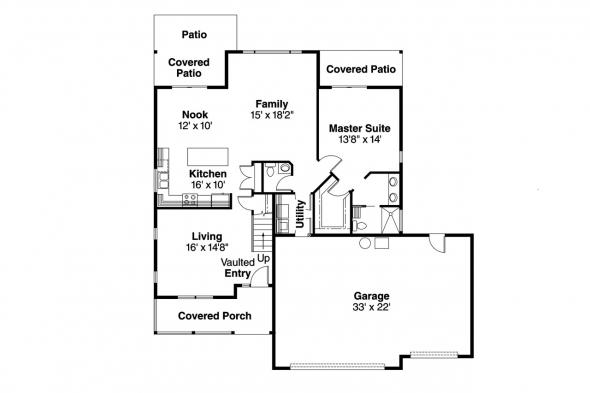 Country House Plan - Brookview 30-055 - 1st Floor Plan