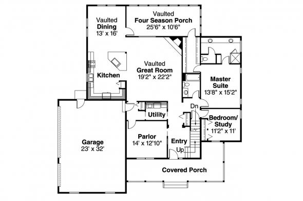 Country House Plan - Clayton 10-292 - 1st Floor Plan