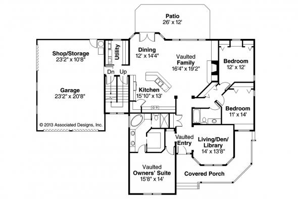 Country House Plan - Clearheart 10-410 - 1st Floor Plan