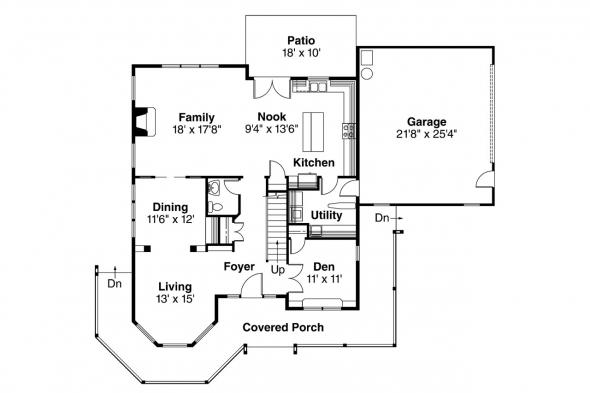 Country House Plan - Evansville 30-045 - 1st Floor Plan