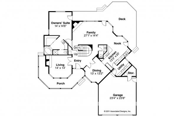Country House Plan - Freemont 10-006 - 1st Floor Plan
