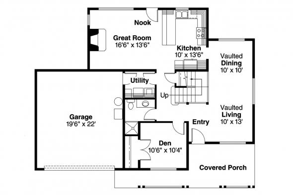 Country House Plan - Jennings 10-279 - 1st Floor Plan