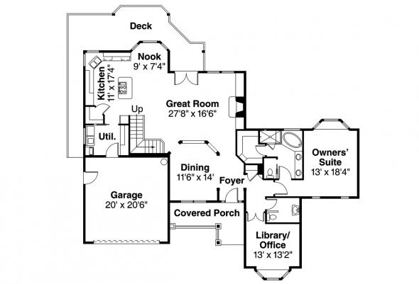 Country House Plan - Lethbridge 30-586 - 1st Floor Plan