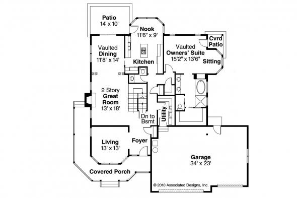 Country House Plan - Oakheart 10-400 - 1st Floor Plan