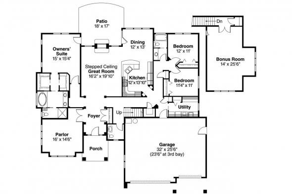 Country House Plan - Saddlebrook 30-616 - Floor Plan