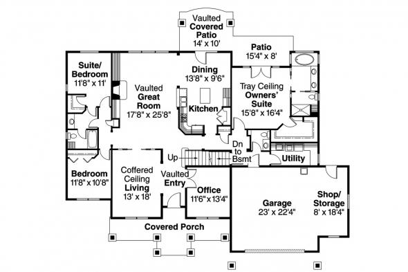 Country House Plan - Springheart 10-530 - 1st Floor Plan