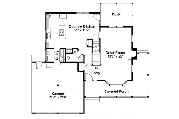 Country House Plan - Washburn 10-093 - 1st Floor Plan