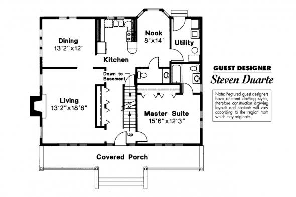 Craftsman House Plan - Alhambra 41-001 - 1st Floor Plan