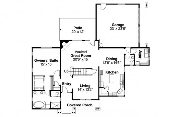 Craftsman House Plan - Awbery 30-551 - 1st Floor Plan