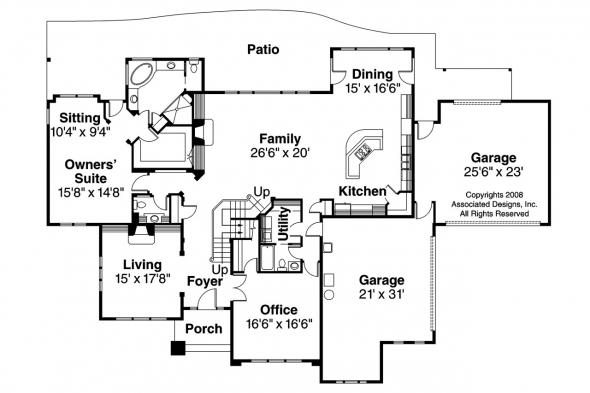 Craftsman House Plan - Bethany 30-272 - 1st Floor Plan