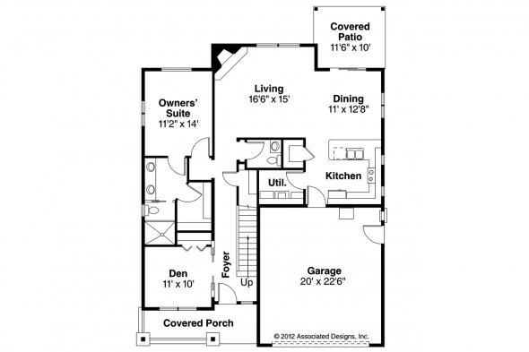 Craftsman House Plan - Cedar Ridge 30-855 - 1st Floor Plan