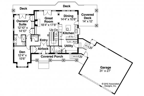 Craftsman House Plan - Cedarbrook 10-561 - 1st Floor Plan