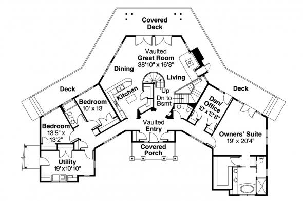 Craftsman House Plan - Crestview 10-532 - 1st Floor Plan