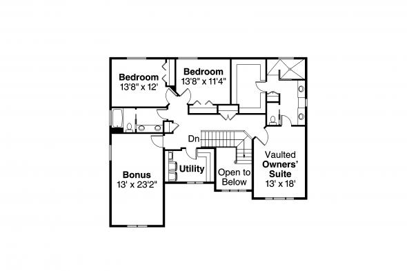 Craftsman House Plan - Forest Grove 30-954 - Second Floor Plan