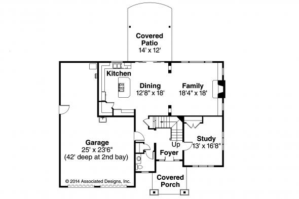 Craftsman House Plan - Forest Grove 30-954 - First Floor Plan