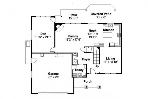 Craftsman House Plan - Garrison 30-414 - 1st Floor Plan