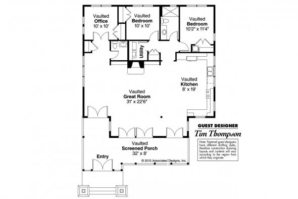 Craftsman House Plan - Glen Eden 50-017 - Floor Plan