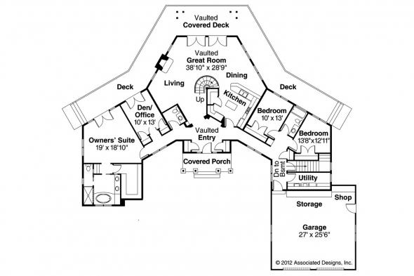 Craftsman House Plan - Heartcrest 10-526 - 1st Floor Plan