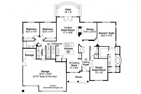 Craftsman House Plan - Hearthside 10-350 - Floor Plan