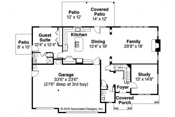 Craftsman House Plan - Oakridge 30-761 - 1st Floor Plan