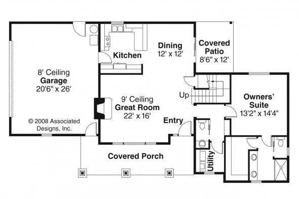 Craftsman House Plan - Rockport 30-707 - 1st Floor Plan
