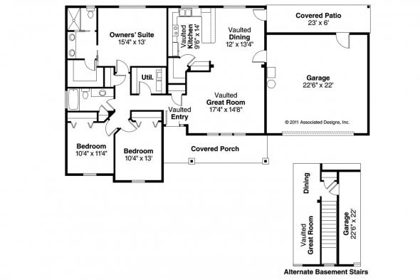 Craftsman House Plan - Stanford 30-640 - Floor Plan