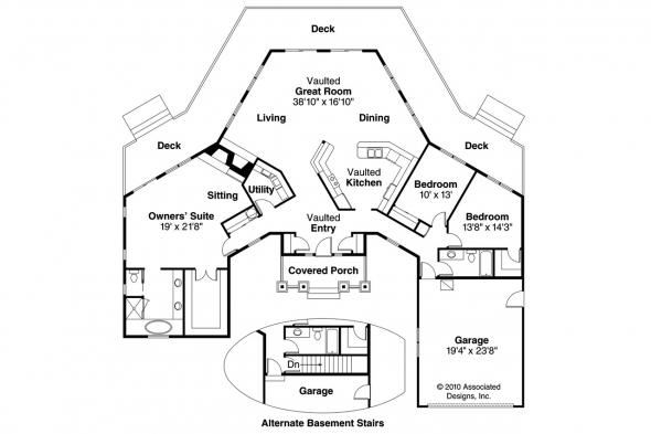 Craftsman House Plan - Vista 10-154 - Floor Plan