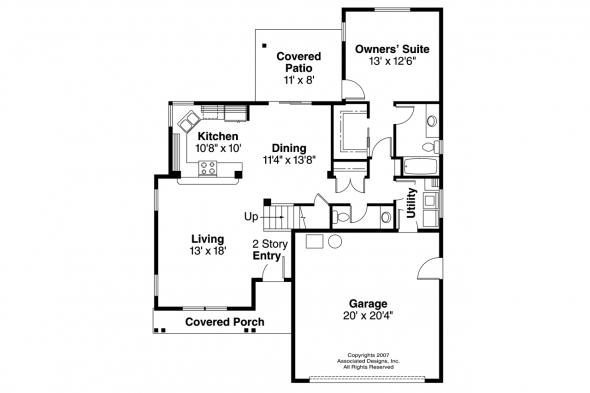 Craftsman House Plan - Wendover 30-558 - 1st Floor Plan