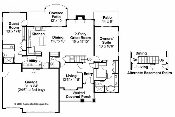 Craftsman House Plan - Yellowwood 30-728 - 1st Floor Plan