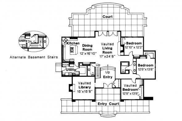 European House Plan - Ashton 10-065 - 1st Floor Plan